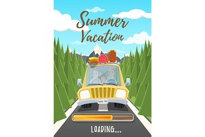Summer vacation loading poster.