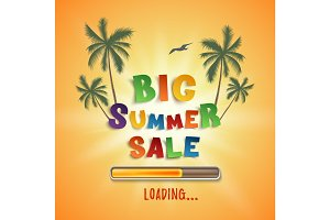 Big summer sale loading poster template.