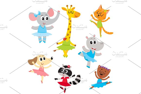 Cute Little Animal Characters Ballet Dancers In Pointed Shoes And Tutu Skirts