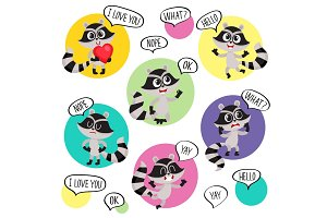 Emoji, emoticon stickers with cute raccoon character and speech bubbles
