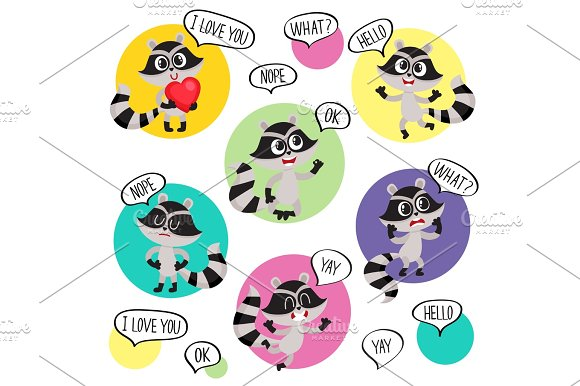 Emoji Emoticon Stickers With Cute Raccoon Character And Speech Bubbles