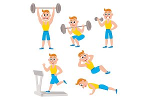 Young man doing sport exercises, training, weightlifting, doing sit-ops, push-ups