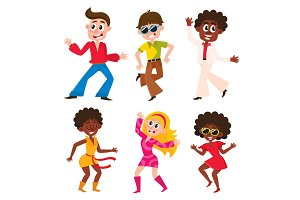 Set of cartoon style retro disco dancers, black and Caucasian