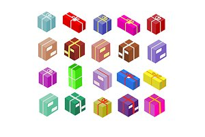 Isoametric box icons. eps+jpg