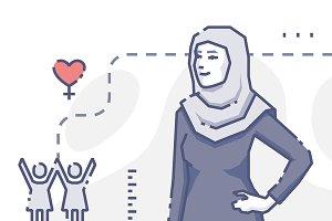 Muslim woman stands akimbo