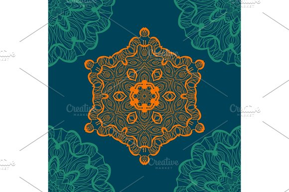 Mandala-like Open-work Seamless Texture Hand-drawn New-age Pattern Round Lace Pattern Abstract Vector Tribal Ethnic Yoga Yantra Background Seamless Tile Blue Color Background
