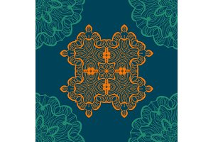 Mandala-like open-work seamless texture. Hand-drawn new-age round lace pattern. Abstract vector tribal ethnic yoga yantra background endless tile on blue color background