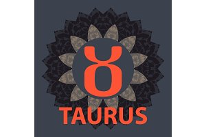 Taurus. Zodiac icon with mandala print. Vector icon.