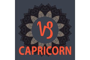Capricorn. Goat. Zodiac icon with mandala print. Vector icon.