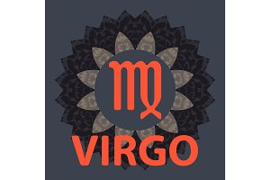 Virgo. Virgin. Zodiac icon with mandala print. Vector icon.