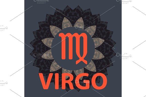 Virgo Virgin Zodiac Icon With Mandala Print Vector Icon