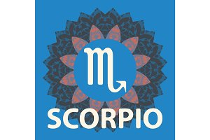 Scorpio. Scorpion. Zodiac icon with mandala print. Vector icon.