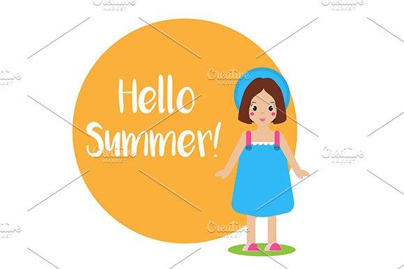 Summer background Girl in blue dress