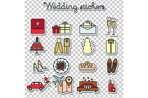 Wedding icons, stickers png+eps