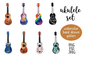 Watercolor ukulele set
