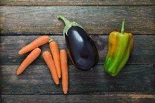 Carrot, Eggplant, Pepper