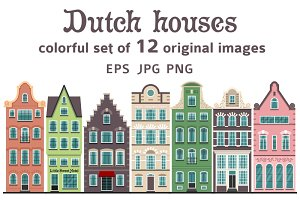 Set of 12 Amsterdam old houses