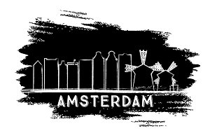 Amsterdam Skyline Silhouette.