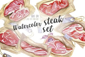 Watercolor hand painted steak set
