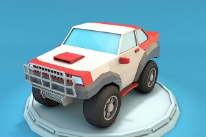 Cartoon Racing Jeep Low Poly