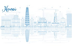 Outline Hanoi skyline