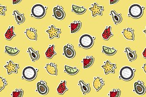 Tropical fruit concept icons pattern