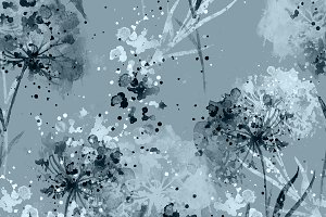 dry flowers seamless pattern | JPG