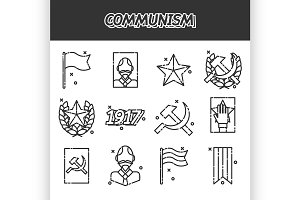 Communism cartoon concept icons