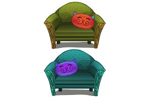 Two sofas with cushions in form of head cats