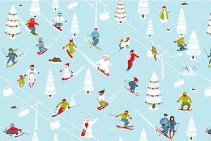 Mountain Ski Resort Seamless Pattern