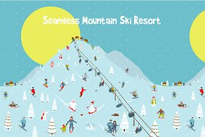 Cartoon Mountains Skyline Ski Resort