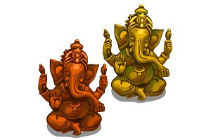 Vector figurines of the Indian deity of Ganesha