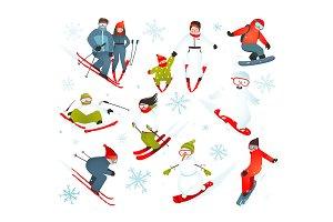 Skier Snowboarder Snowflakes Winter