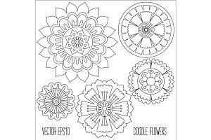 Doodle flowers set