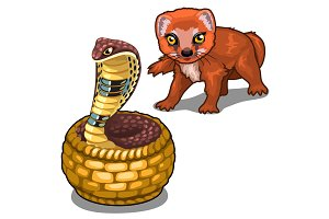Mongoose and cobra. Vector animals