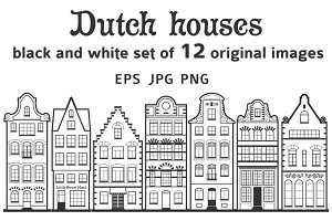 Set of 12 line Amsterdam old houses