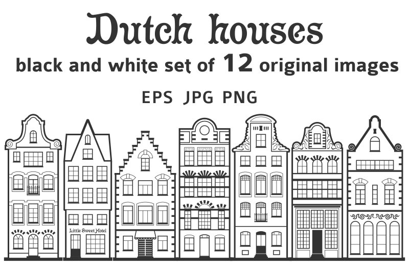 Set of 12 line Amsterdam old houses ~ Illustrations