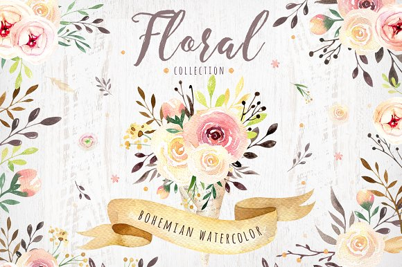 Bohemian Watercolor Collection Illustrations Creative Market