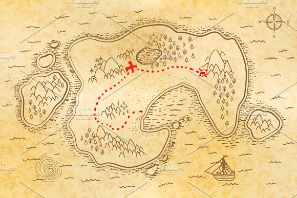 ancient pirate map on old paper illustrations creative market