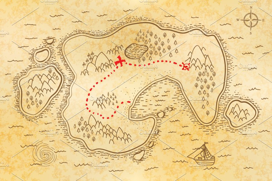 Ancient Pirate Map On Old Paper Illustrations Creative