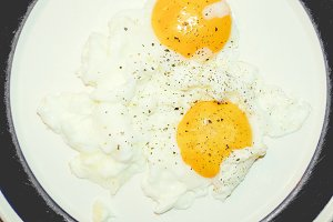 Fried egg, faded vintage look