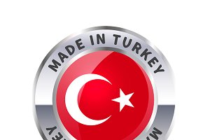 Metal badge icon, made in Turkey