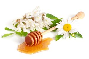 Honey stick with flowing honey and flowers of acacia chamomile isolated on white background