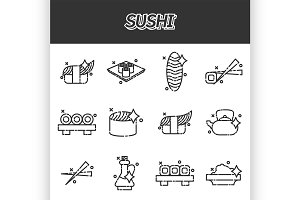 Sushi cartoon concept icons