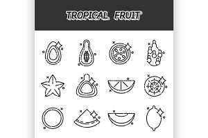 Tropical fruit cartoon concept icons