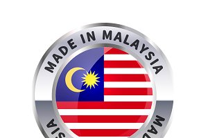 Metal badge icon, made in Malaysia