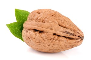 Walnut with leaf isolated on white background