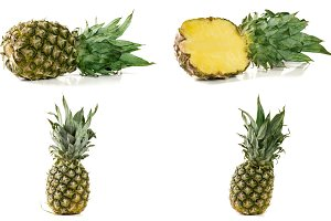Pineapple isolated on white background. Set or collection