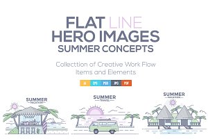 Flat line design Summer Concepts