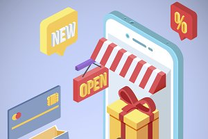 Isometric smartphone shopping